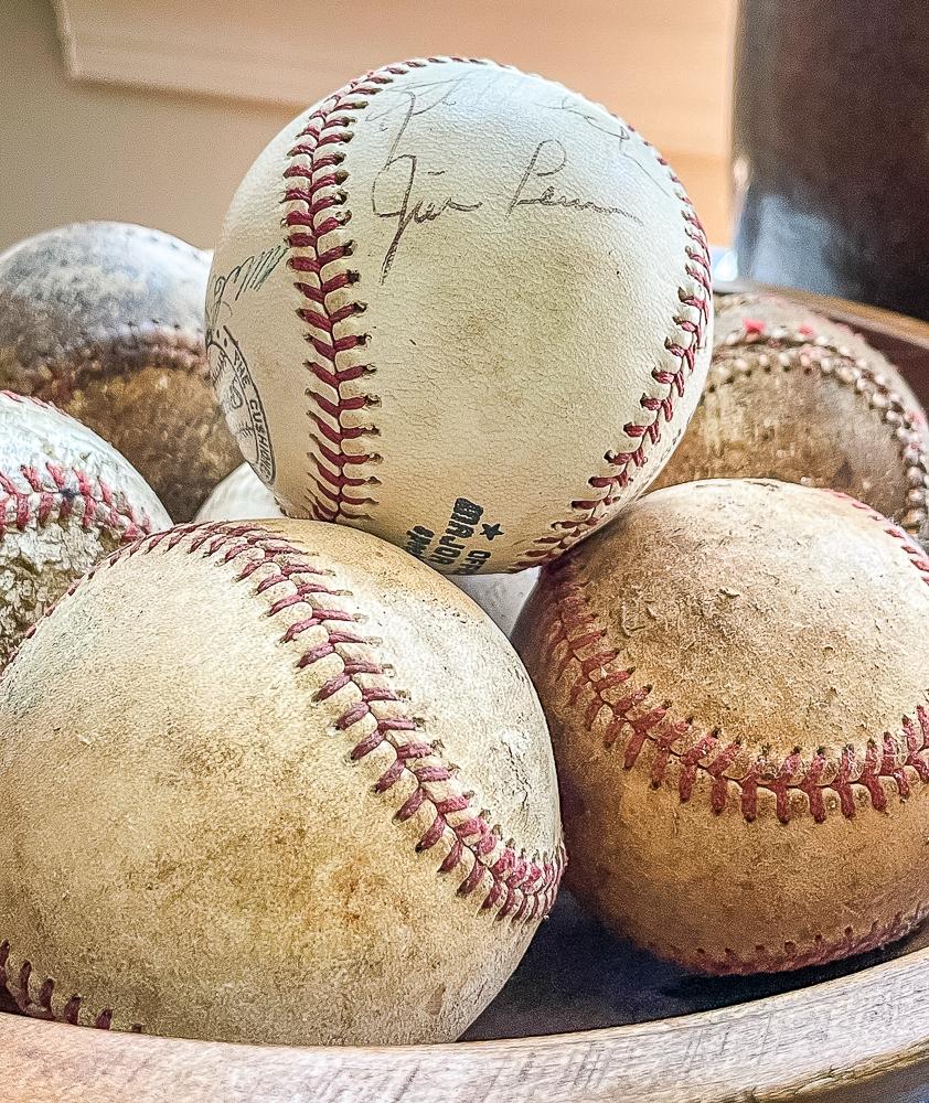 Bowl of baseballs