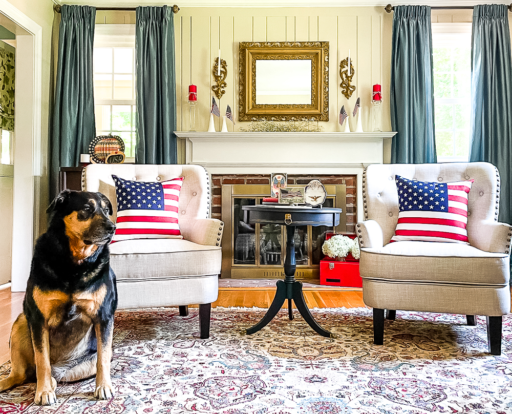 Patriotically decorated living room