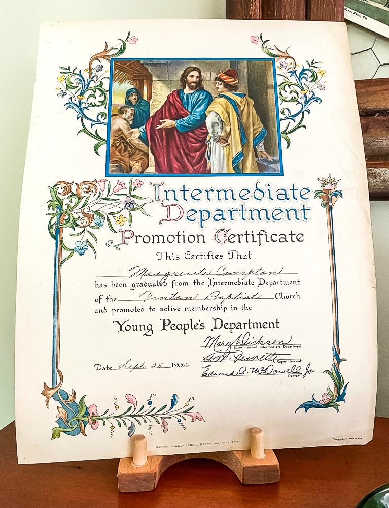 1932 vacation bible school certificate