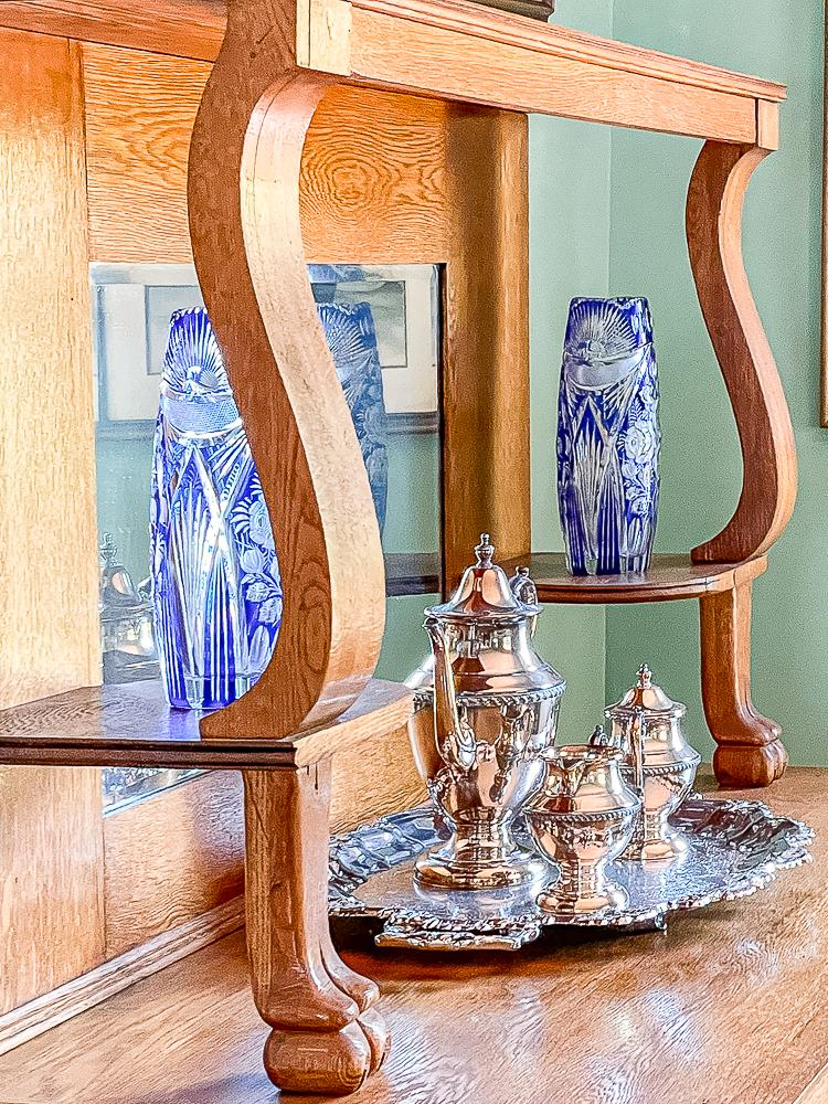 Oak buffet with blue Czec Glass