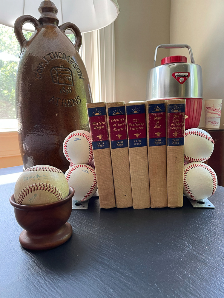 End table decorated with baseballs
