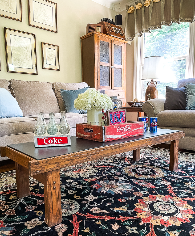 Coffee table decorated with Coke products