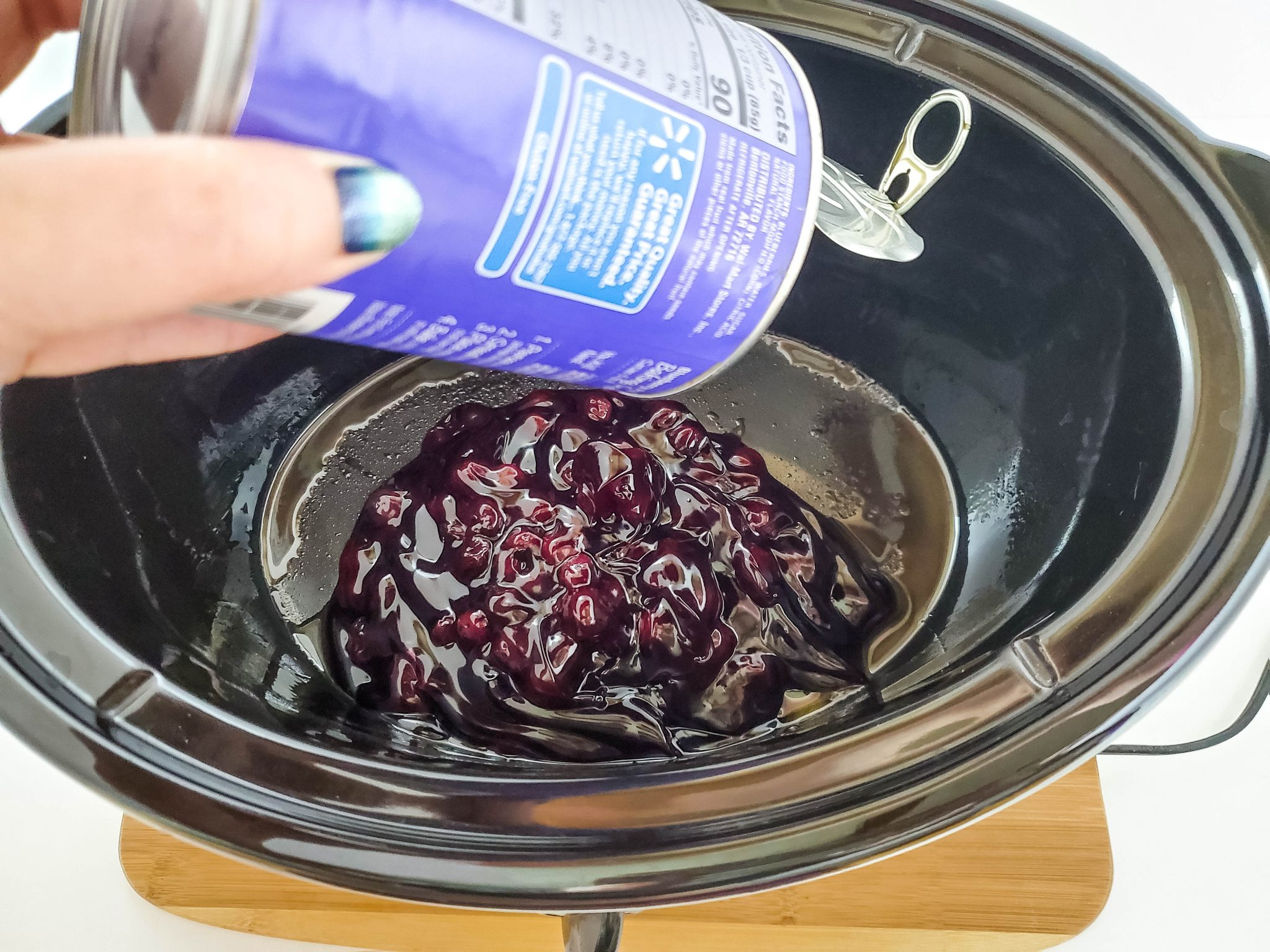 Adding canned blueberry filling to a crockpot