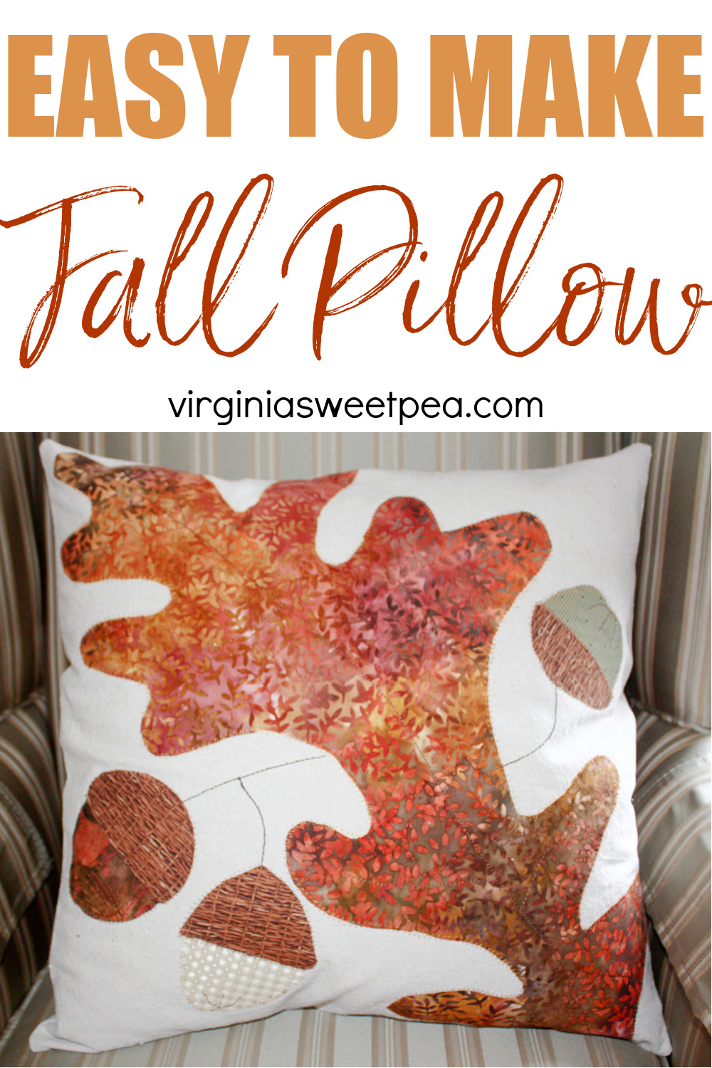 Fall pillow made with a drop cloth and quilting fabric
