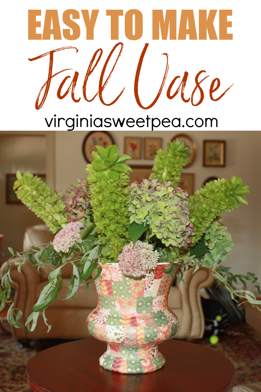 Vase with fall colored scrapbook square glued in a patchwork pattern
