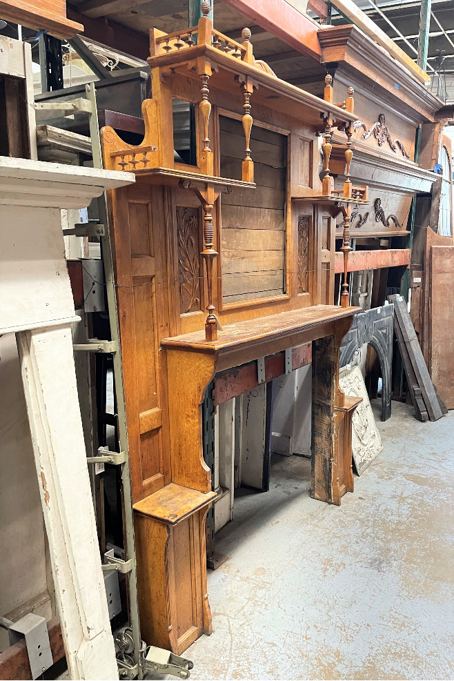 Mantels for sale at Black Dog Salvage in Roanoke, Virginia