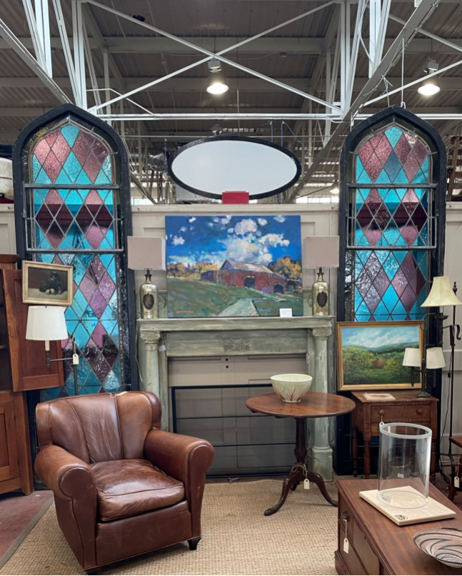 Stained glass for sale at Black Dog Salvage in Roanoke, Virginia
