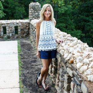 Stitch Fix Skies are Blue Nutria Embroidered Top