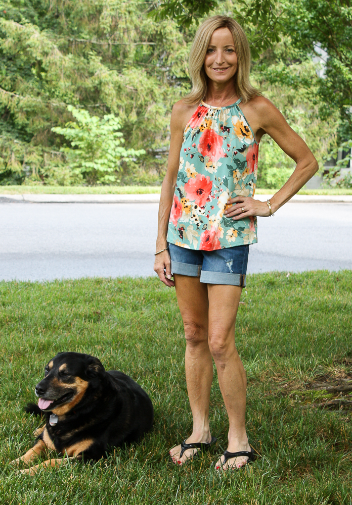 Stitch Fix Papermoon Halter Knit Top with Judy Blue Lillian Tacked Cuffed Short