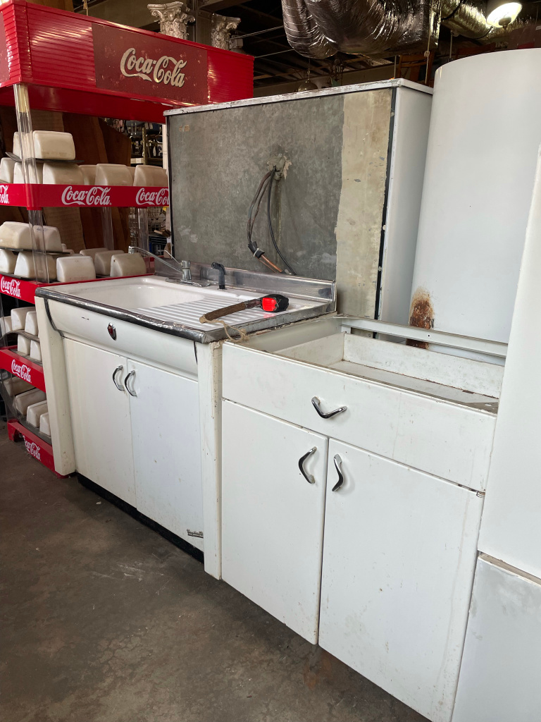 Vintage kitchen cabinets and sinks at Black Dog Salvage in Roanoke, Virginia