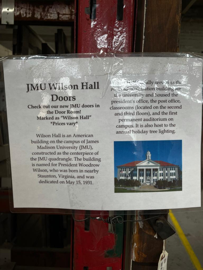 Information on JMU Wilson Hall Doors at Black Dog Salvage