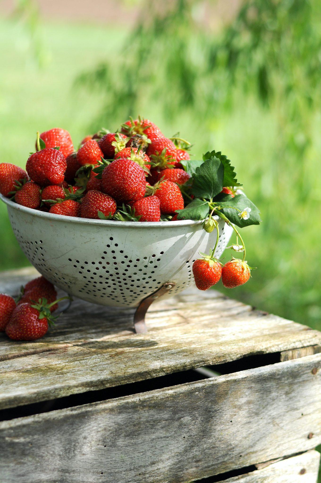strawberrries in a vintage metal colander