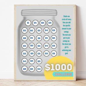 Free Printable $1,000 Challenge