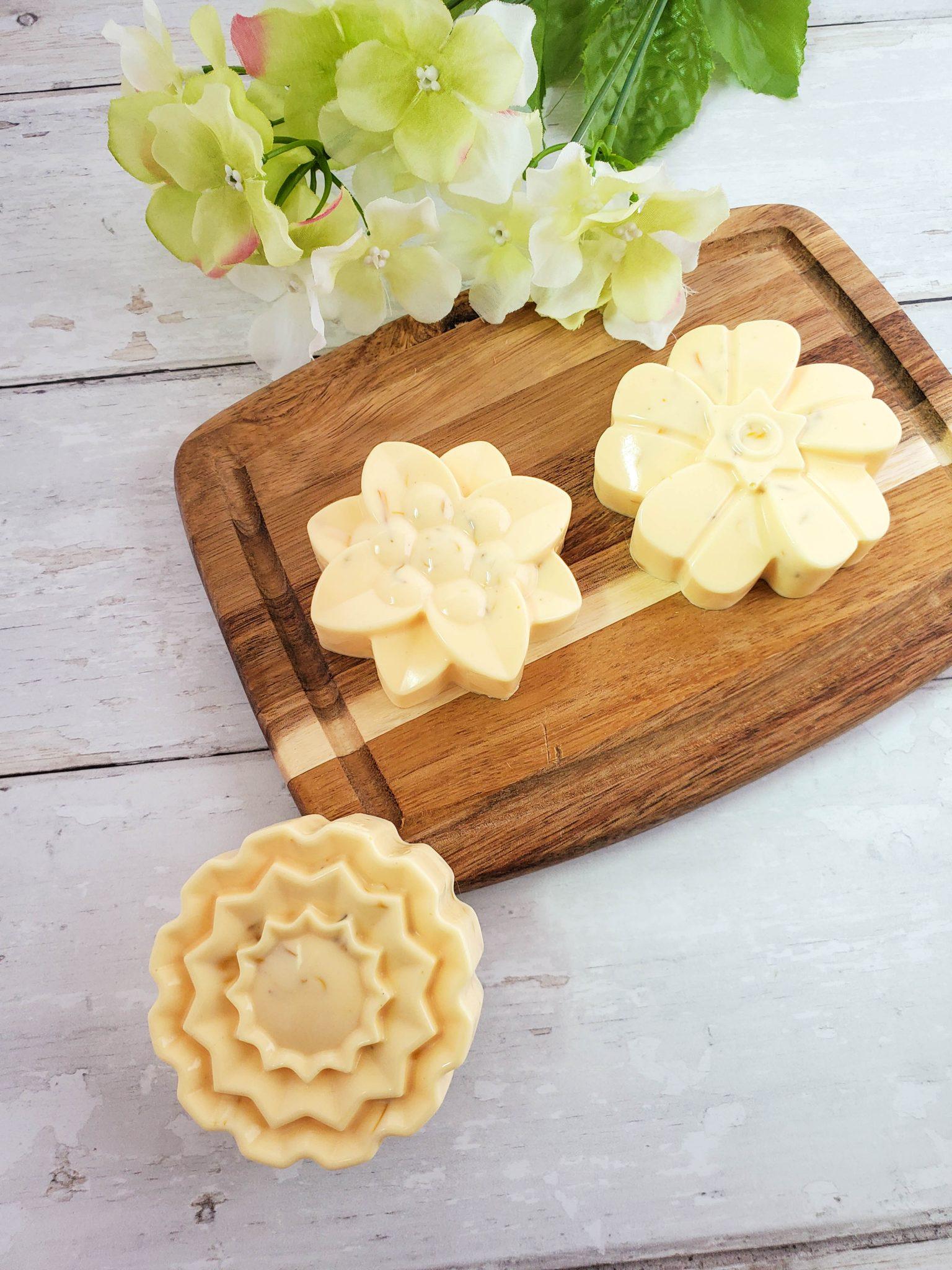 Calendula and Lemongrass Soap on a wood tray