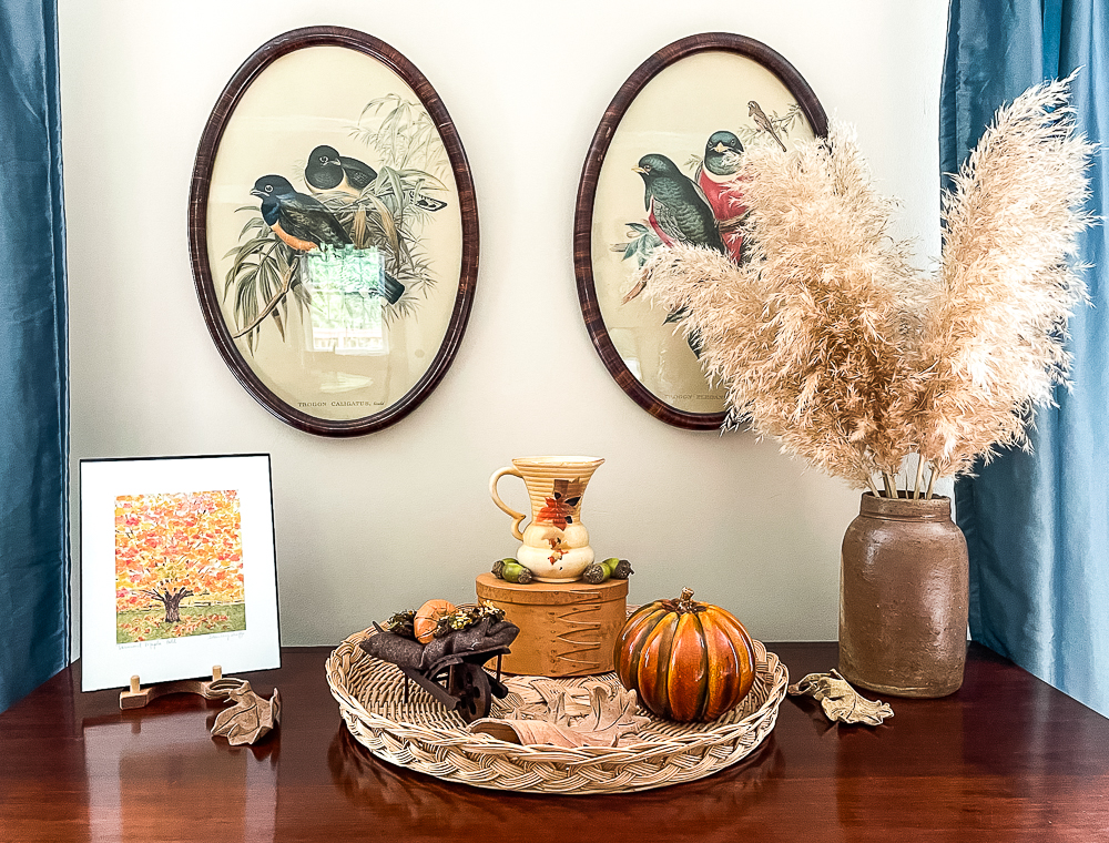 Fall Vignette on an antique chest