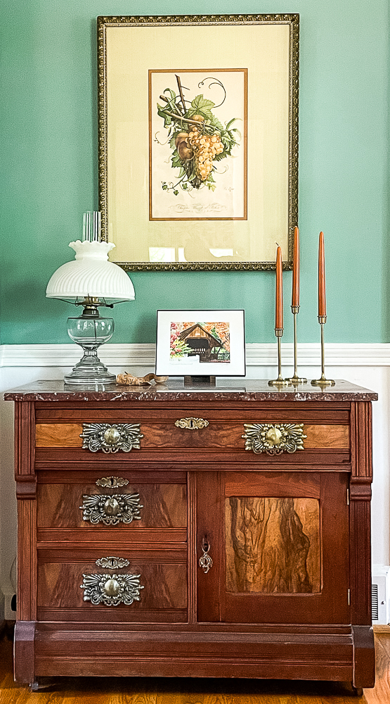 Antique washstand decorated for fall