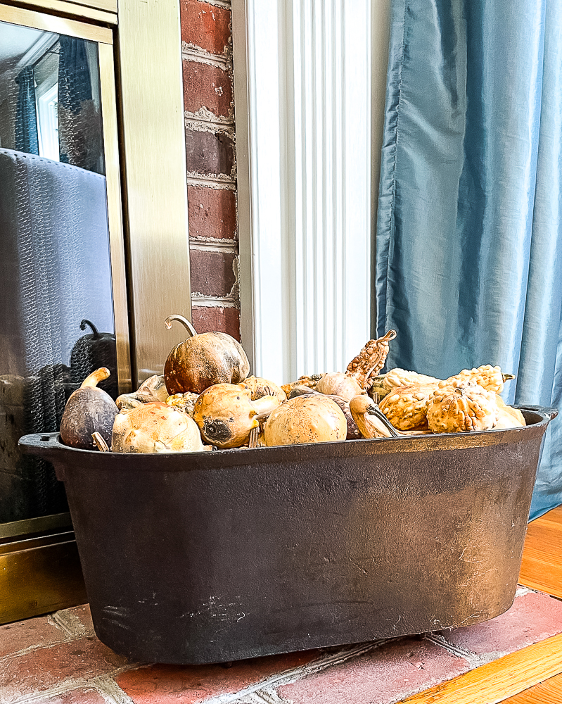 Dried gourds in a black cast iron pot