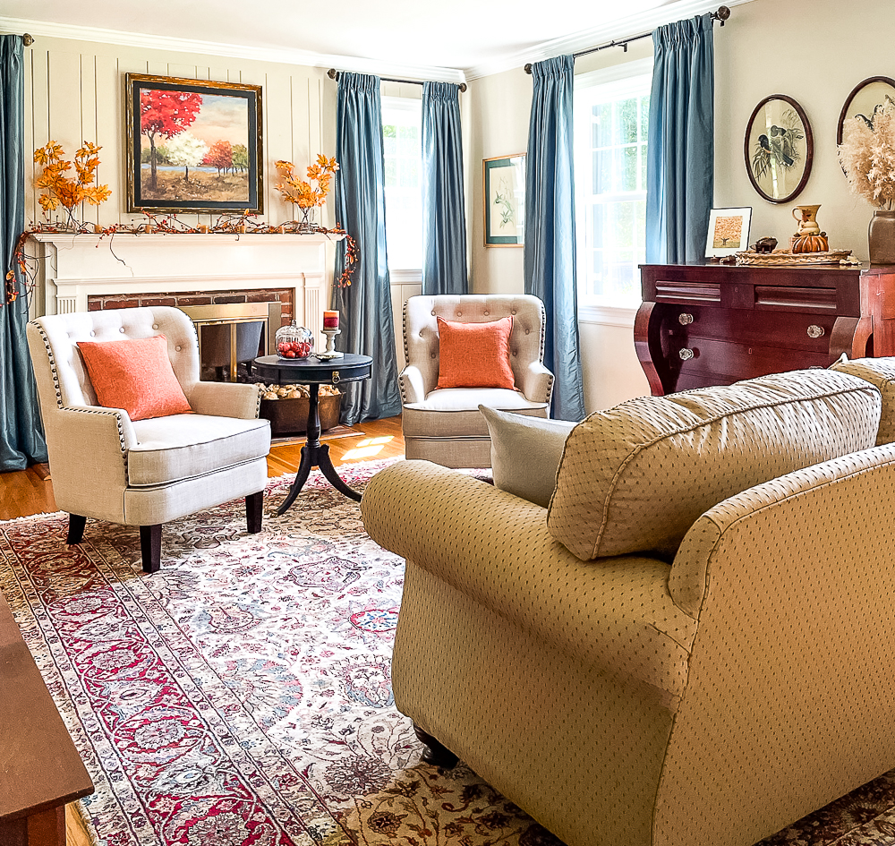 Formal living room decorated for fall