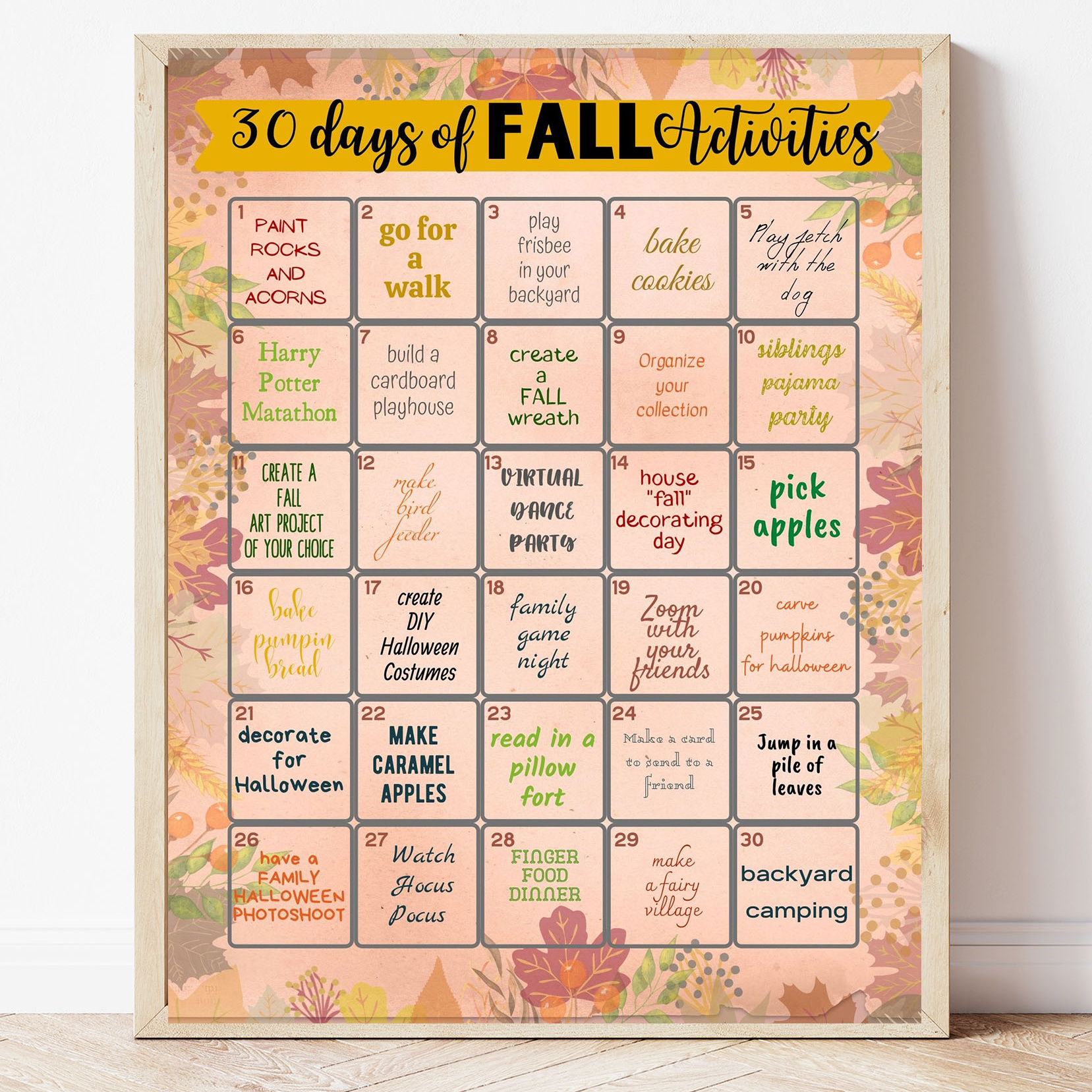 Free Printable 30 Days of Fall Activities