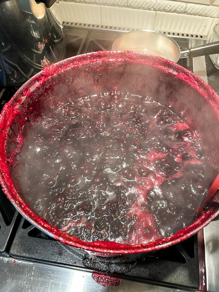 Blackberries cooked down to make jam