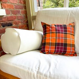 Pillow painted with chalk paint and fabric medium