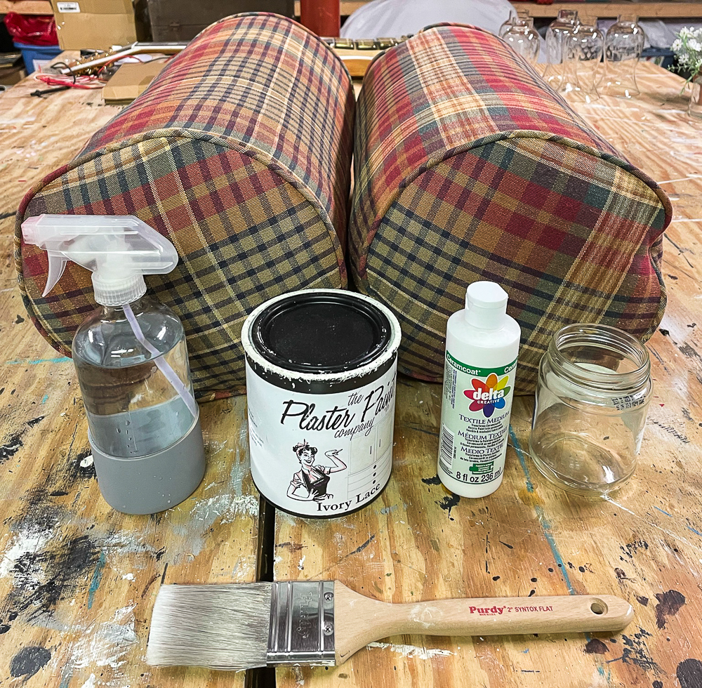 Supplies to paint pillows