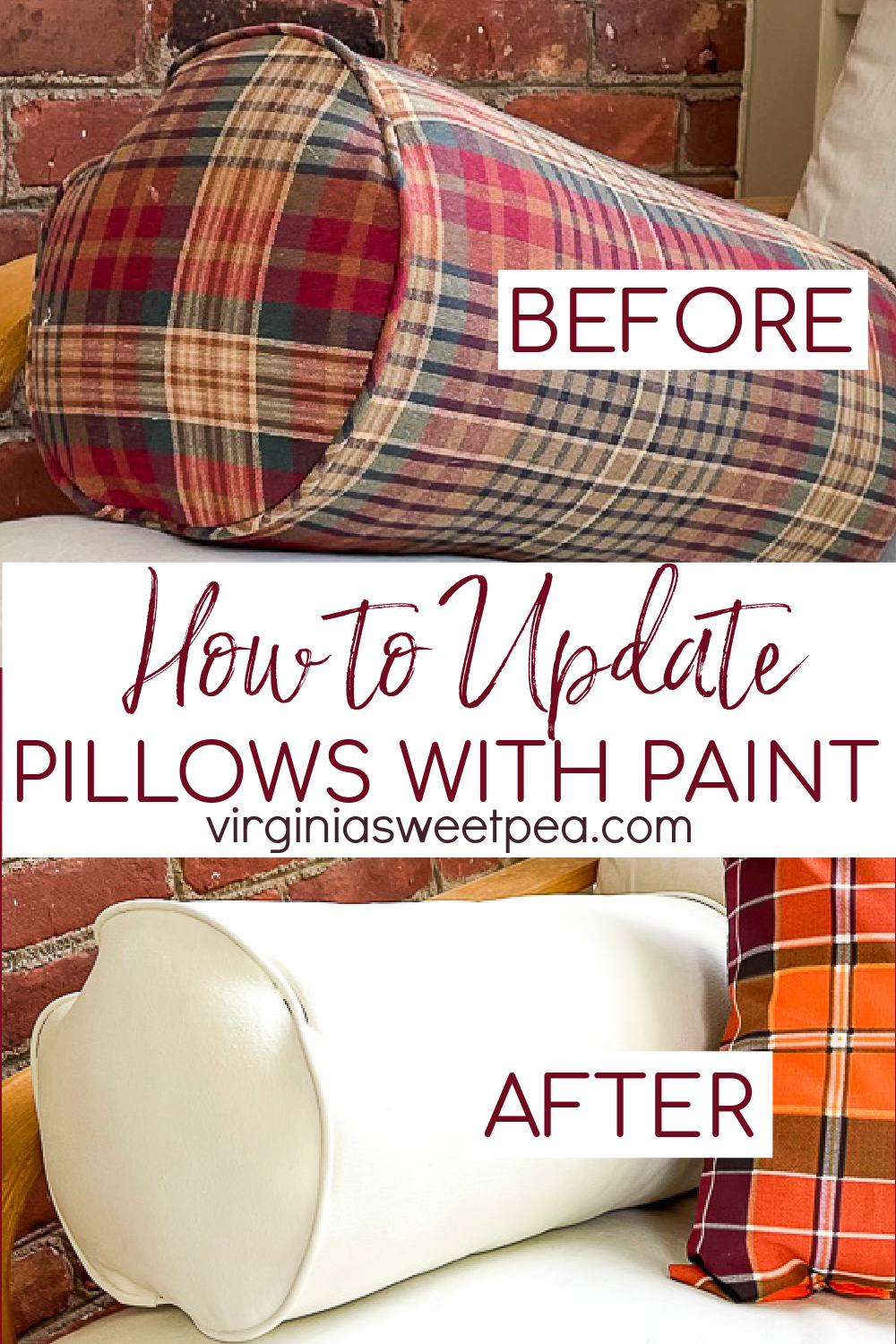 Pillow update with paint and fabric medium