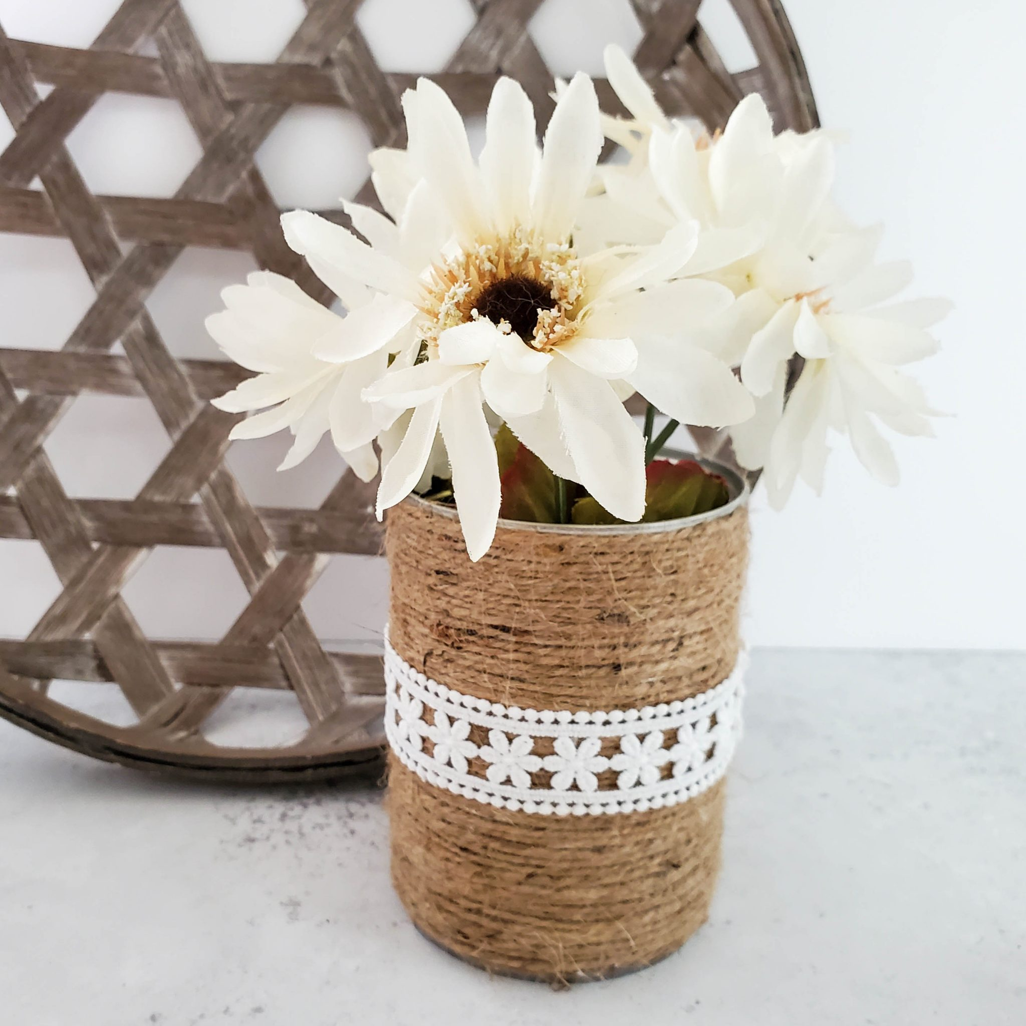 Twine and Lace Upcycled Cans Craft