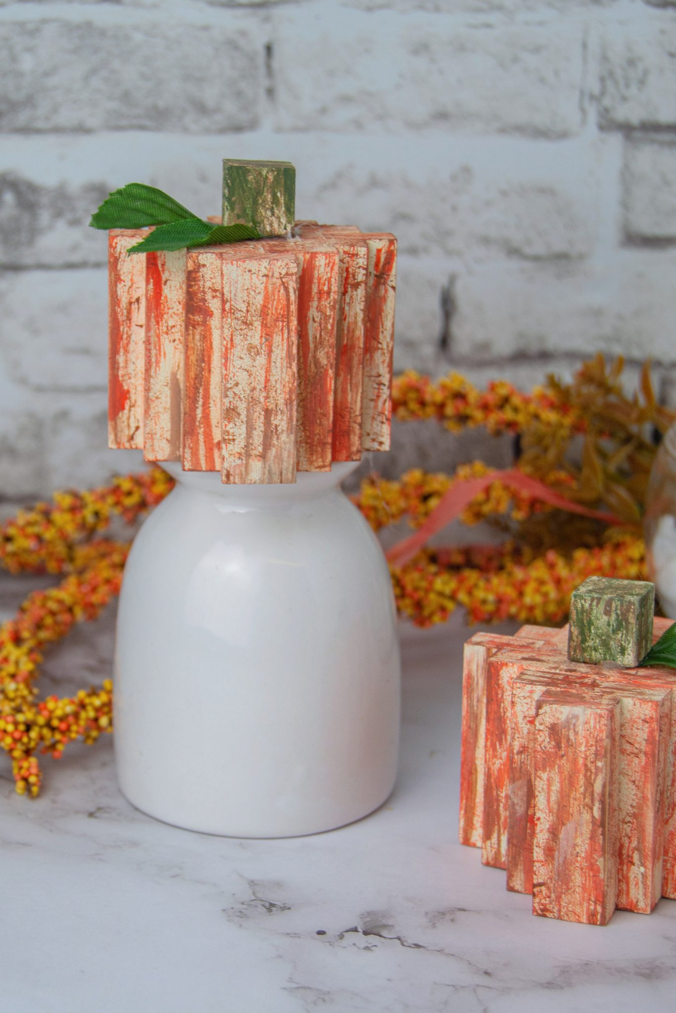 Pumpkins made from tumbling tower blocks from the Dollar Store