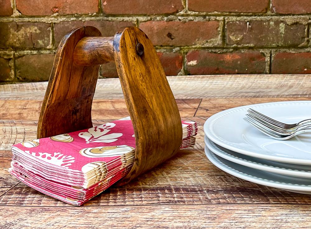 Vintage Wood Stirrup Napkin Holder