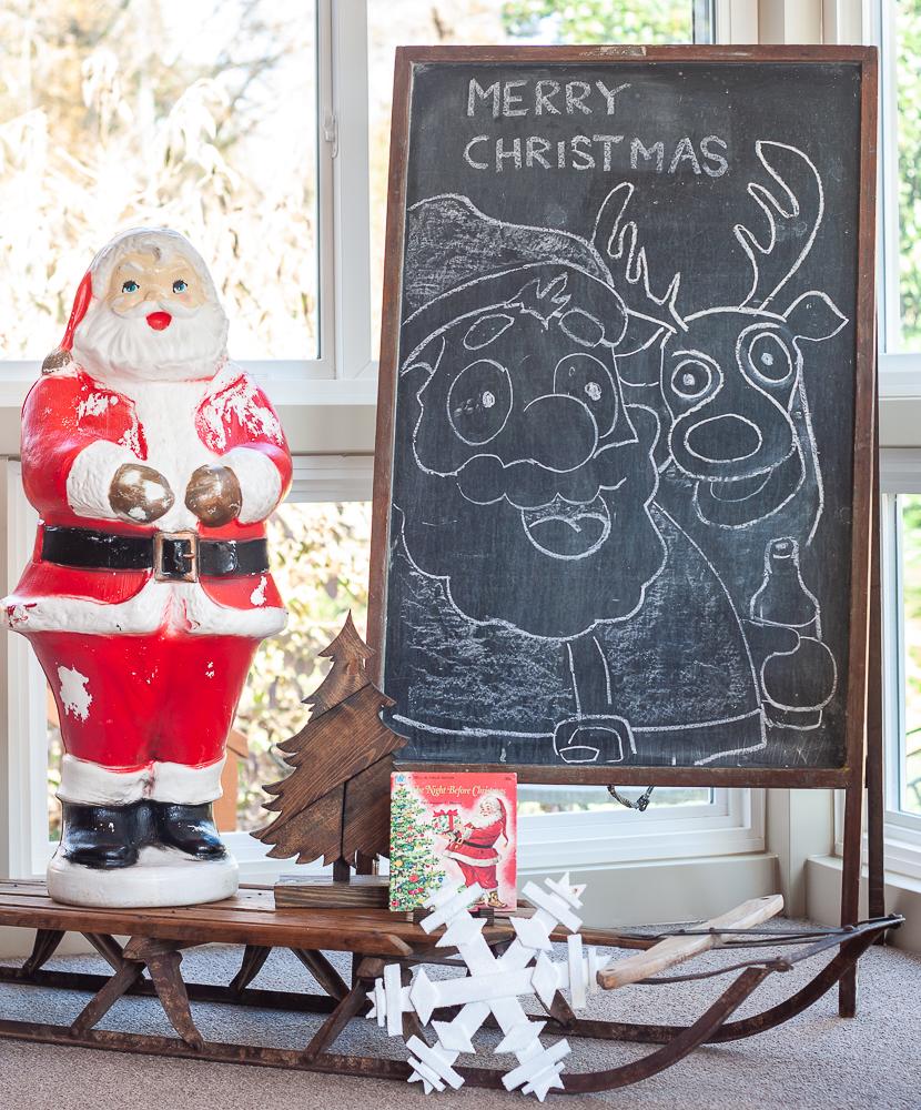 Antique chalkboard, vintage sled, vintage Santa blow mold
