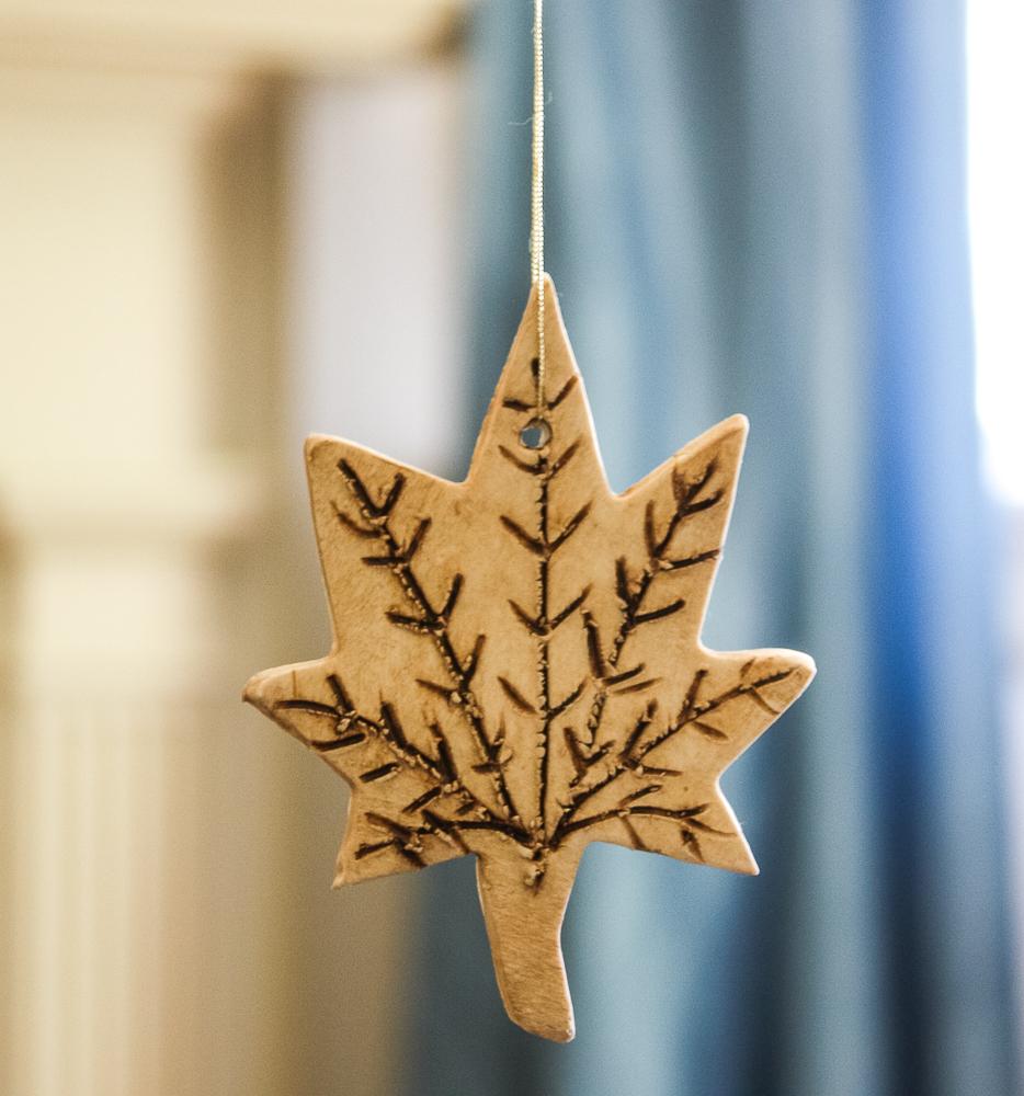 Maple fall clay ornament