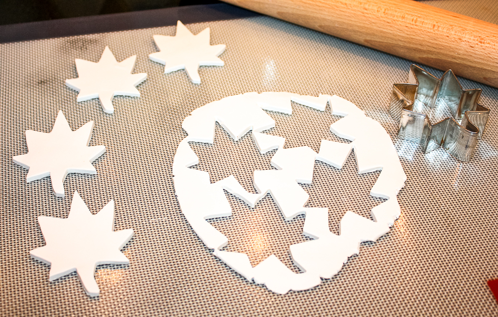 Leaves cut out of Sculpey clay with a cookie cutter