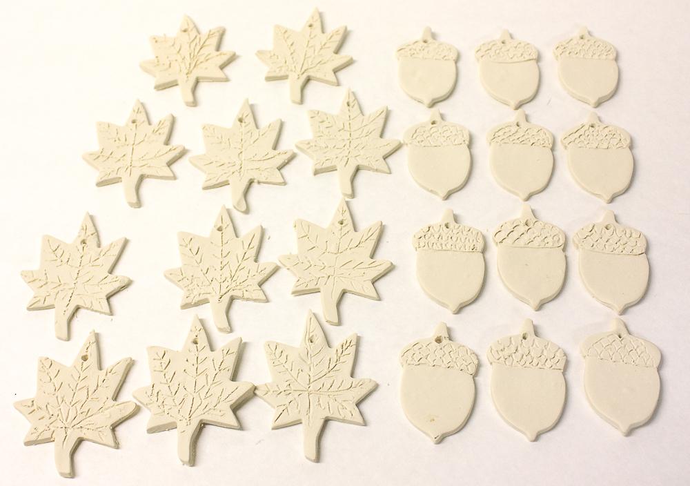 Fall leaf and acorn ornaments