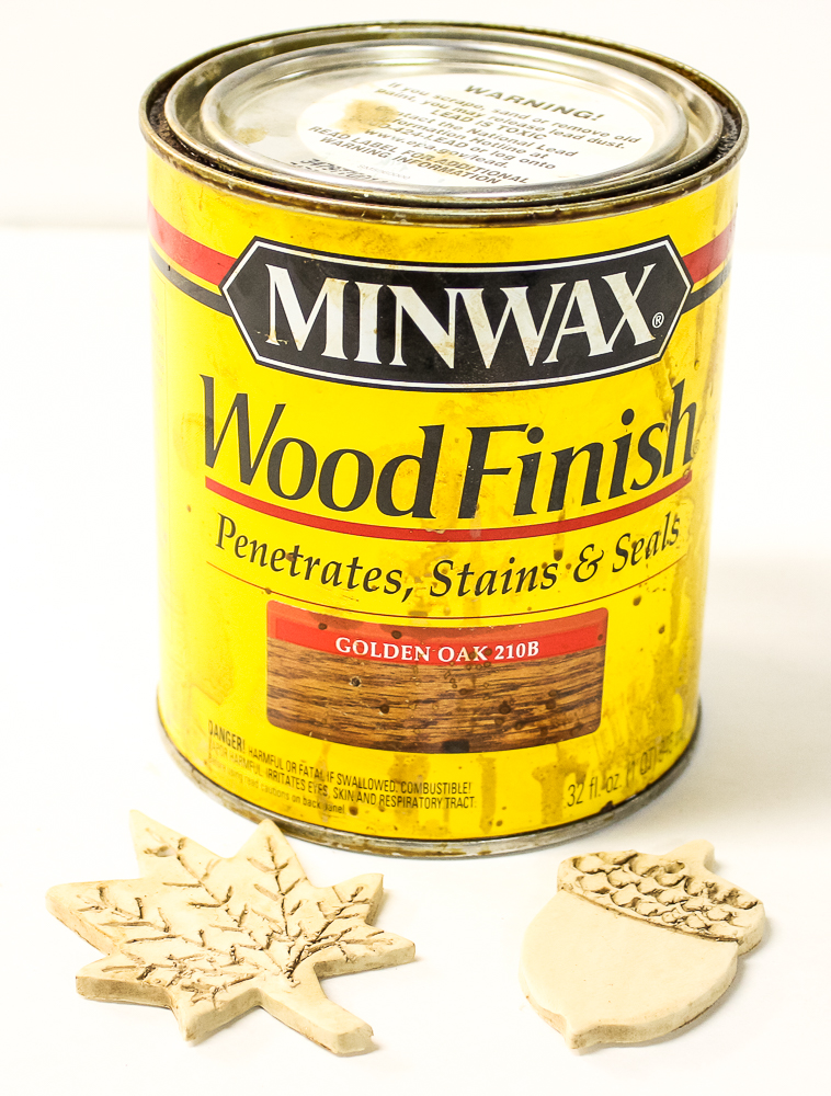 Fall Ornaments made from clay stained with Minwax Golden Oak
