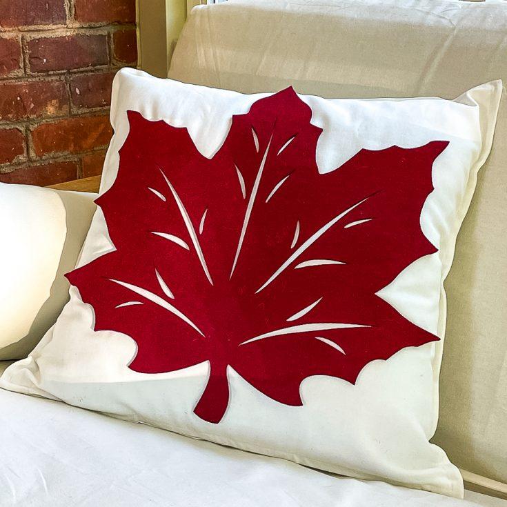 Fall Pillows Using Dollar Store Felt Leaves