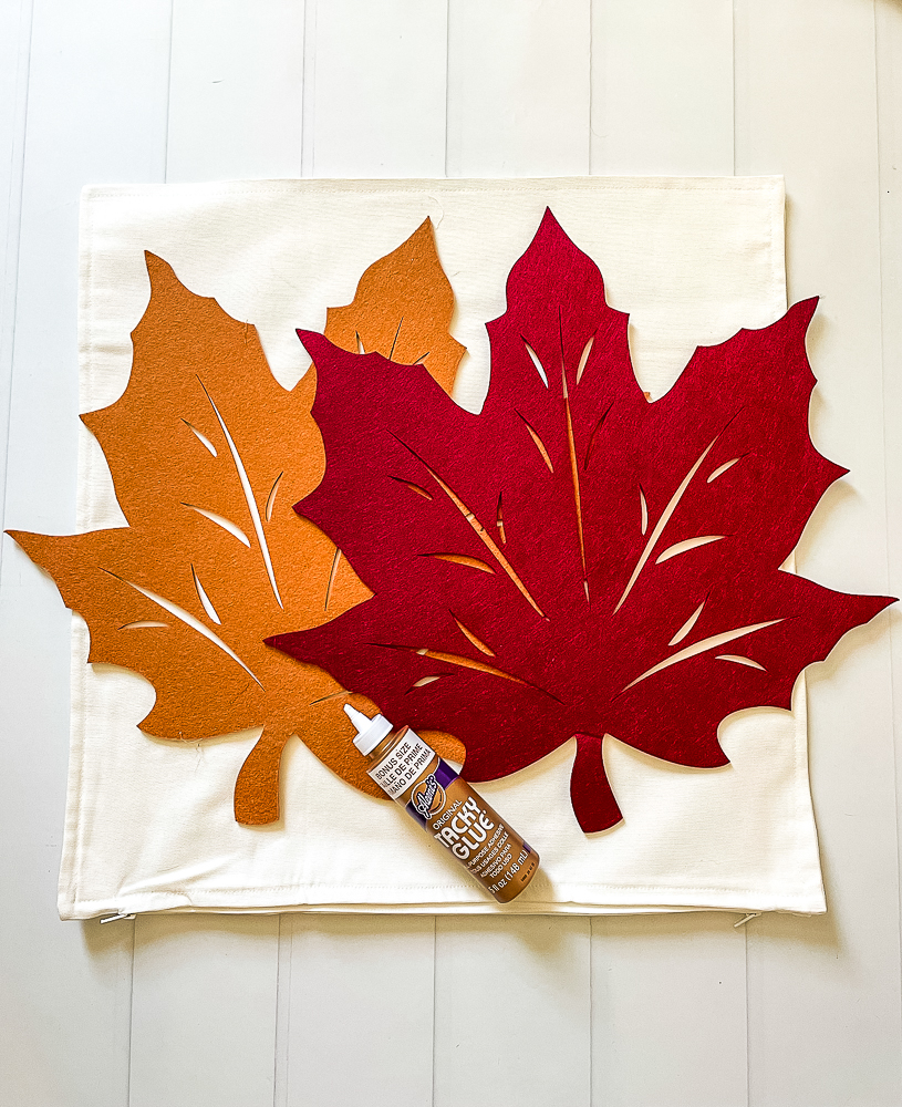 Supplies to make Fall Pillows Using Dollar Store Felt Leaves