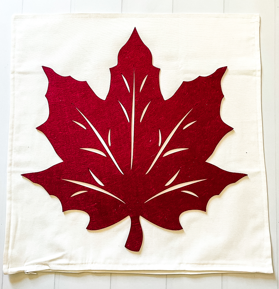 Direction to make Fall Pillows Using Dollar Store Felt Leaves