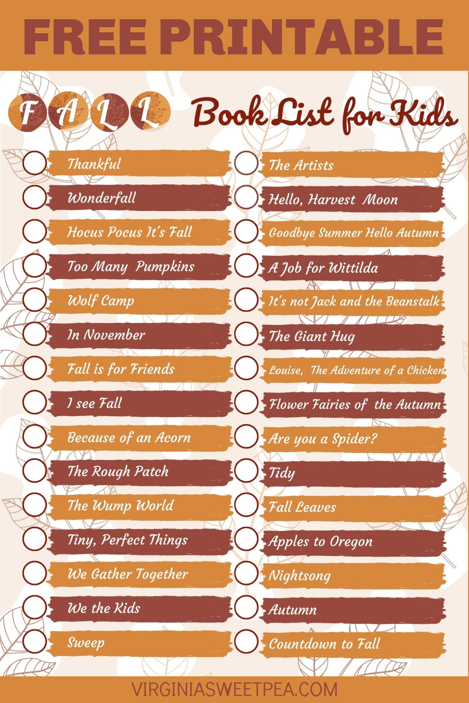 Free Printable Fall Book List for Kids