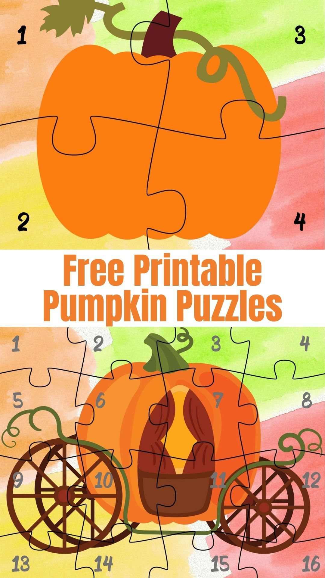 Free Printable Pumpkin Puzzles for Preschoolers
