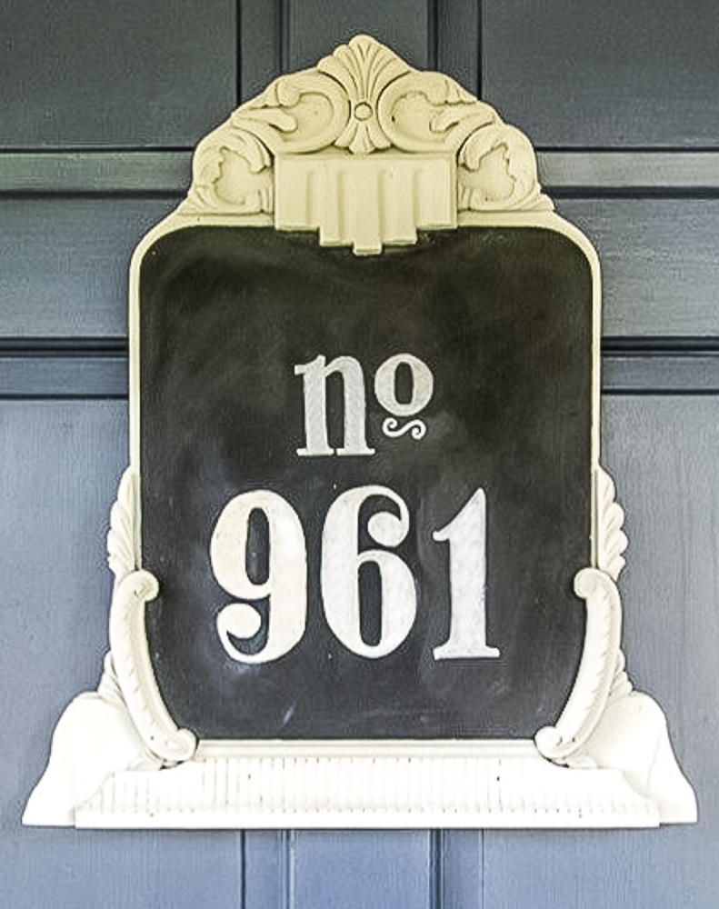 upcycled chalkboard house number sign