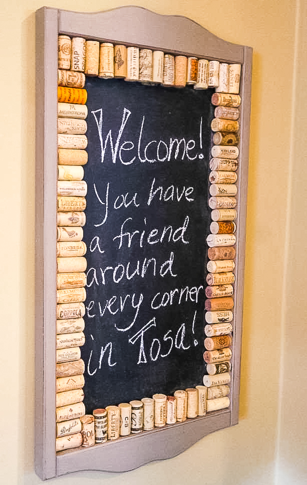upcycled chalkboard using a frame with corks