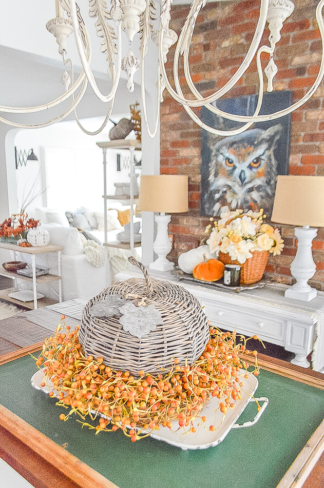 Fall centerpiece with a vintage chalkboard as the base