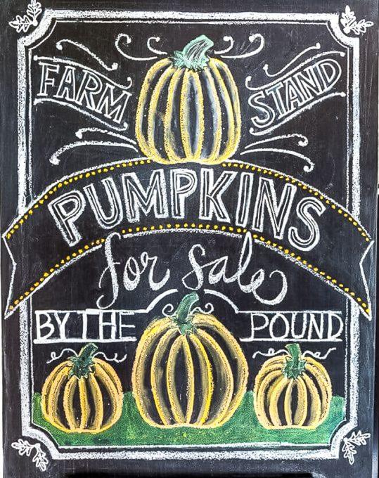 Pumpkin chalkboard art