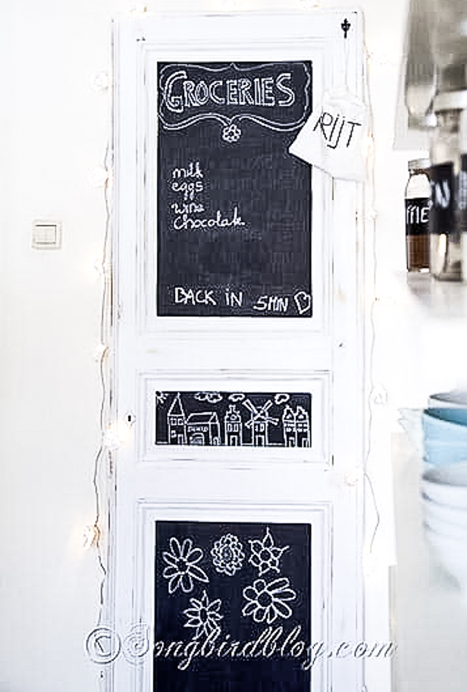 Door upcycled into a chalkboard