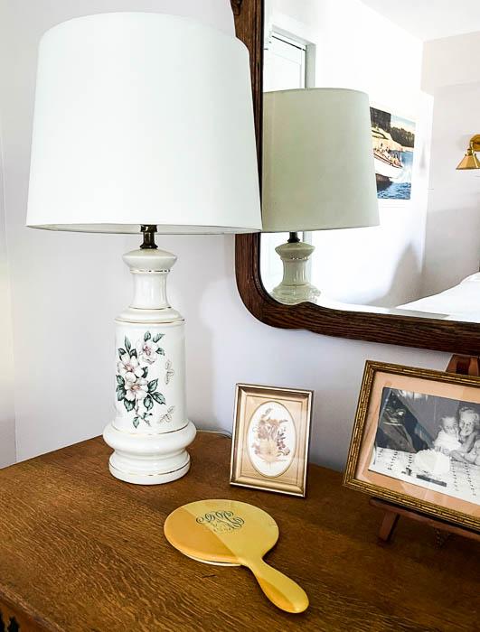 Vintage items decorating an antique oak dresser