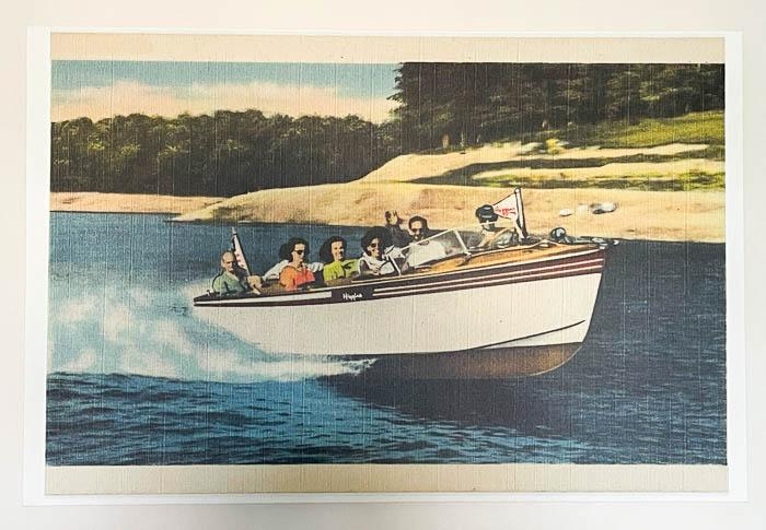 vintage boating postcard enlarged on a canvas