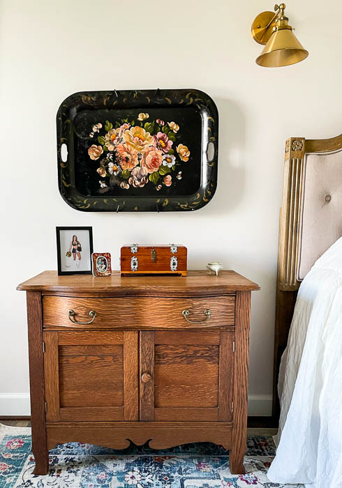 Antique oak washstand used as a night stand