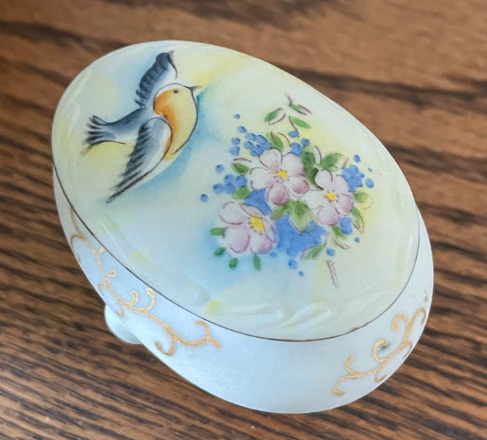 Antique bird and flower lidded container