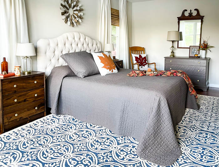 Decorated for fall bedroom